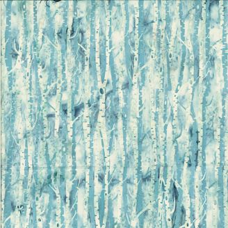 Tissu batik troncs de bouleaux bleu glacier