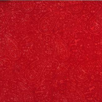 Tissu patchwork motif cachemire rouge cerise ton sur ton