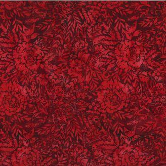 Tissu batik roses rouge velours