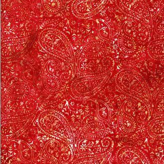 Tissu batik motif cachemire rouge piment ton sur ton