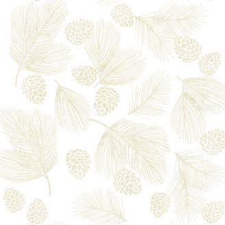 Tissu batik écru branche et pomme de pin beige