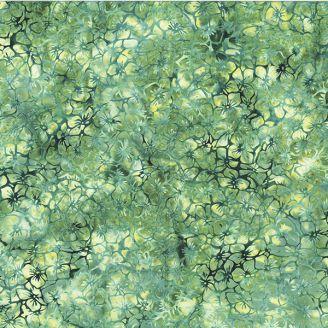 Tissu batik petites fleurs vert céladon