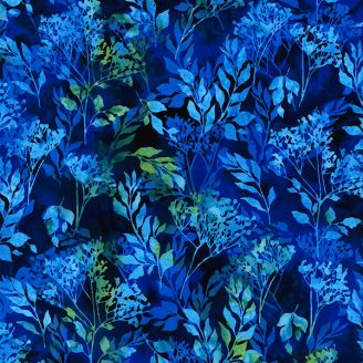 Tissu batik branchages bleu lapis