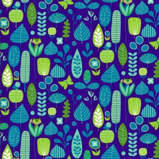 Tissu patchwork renard et végétation fond bleu - Mid-century modern
