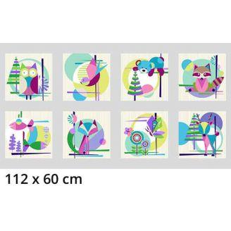 Panneau en tissu patchwork vignettes animaux - Mid-century modern