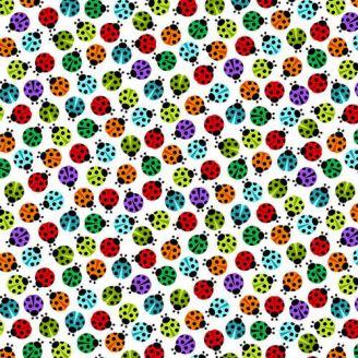Tissu patchwork coccinelles multicolores fond blanc - I'm Buggin' Out