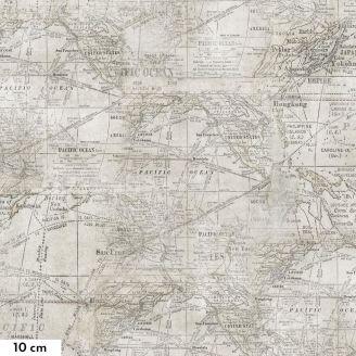 Tissu patchwork Tim Holtz cartes géographiques vintage - Monochrome