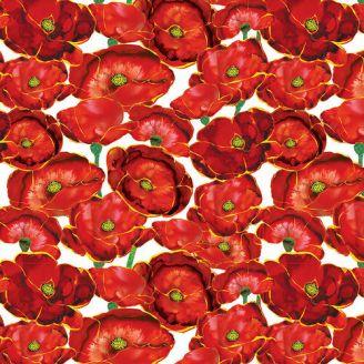 Tissu patchwork coquelicots rouges fond blanc - Poppy Days