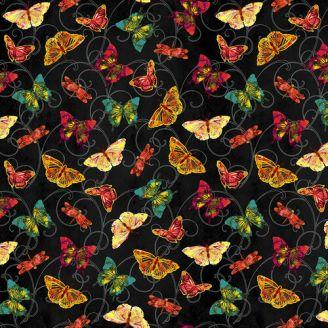 Tissu patchwork papillons oranges fond noir - Poppy Days