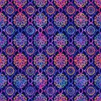 Tissu patchwork rosaces mandala fond marine - Hummingbird Heaven
