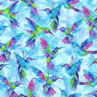 Tissu patchwork grands colibris fond bleu ciel - Hummingbird Heaven
