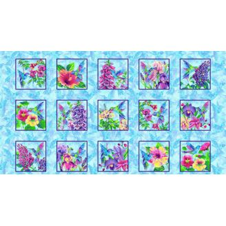 Panneau de tissu patchwork colibris et hibiscus - Hummingbird Heaven