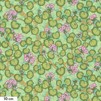 Tissu Philip Jacobs Géranium vert PJ110 (Climbing geraniums)