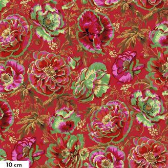 Tissu Philip Jacobs grande fleur Dorothy rouge PJ109