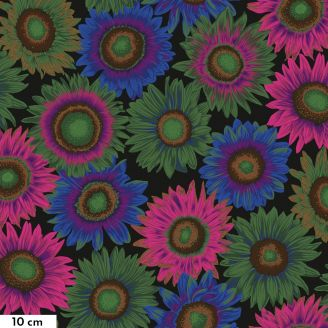 Tissu Philip Jacobs fleur Van Gogh noir PJ111