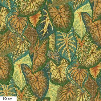 Tissu Philip Jacobs feuilles de Caladiums vert et or PJ108