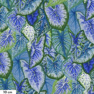 Tissu Philip Jacobs feuilles de Caladiums bleu PJ108