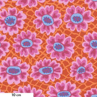 Tissu Brandon Mably maillage de fleurs rouge BM081 (Flower net)