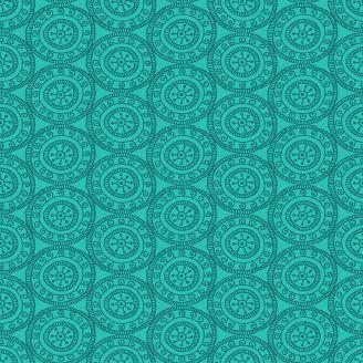 Tissu patchwork médaillon ton sur ton turquoise - Henna