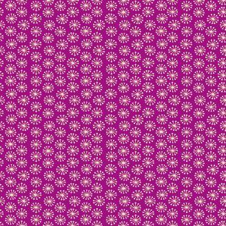 Tissu patchwork éclosions fond fuchsia foncé - Henna