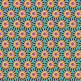 Tissu patchwork tournesols jaunes fond turquoise - Henna