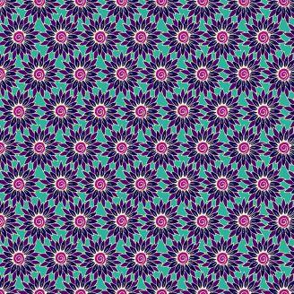 Tissu patchwork tournesols bleus fond turquoise - Henna