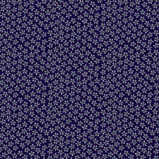 Tissu patchwork petites fleurs fond bleu indigo - Henna