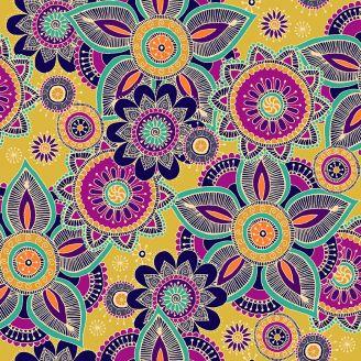 Tissu patchwork mandala fond jaune - Henna