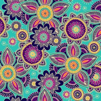 Tissu patchwork mandala fond turquoise - Henna