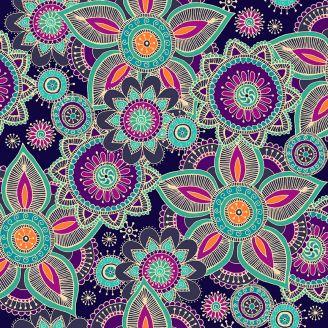 Tissu patchwork mandala fond bleu marine - Henna