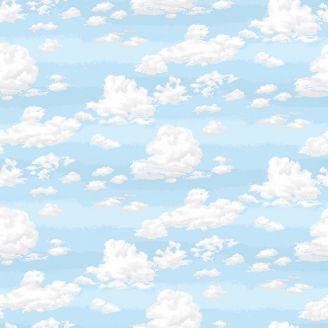 Tissu patchwork imitation ciel bleu et nuages