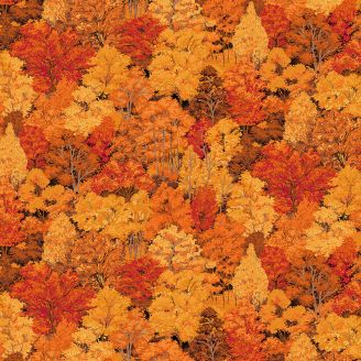 Tissu patchwork forêt automnale