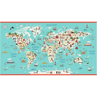 Panneau de tissu patchwork Planisphère - Around the world