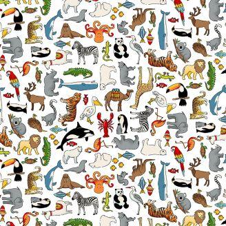 Tissu patchwork animaux du monde fond blanc - Around the world