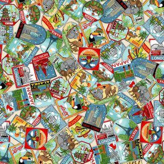 Tissu patchwork cartes postales du monde - Around the world