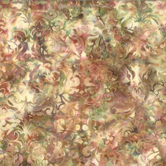 Tissu batik feuillage fantaisie vert marron