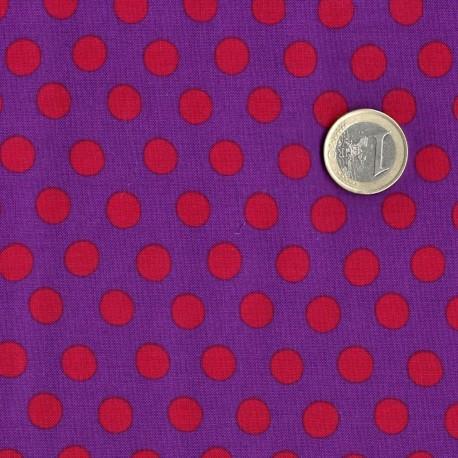 Kaffe Fassett Pois rouge fond violet GP70