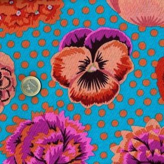 Tissu Kaffe Fassett turquoise Big Blooms GP91