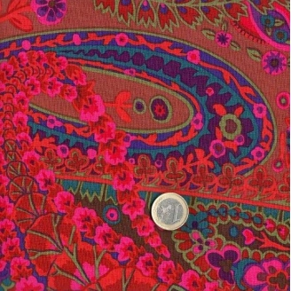 coupon de tissu patchwork kaffe fassett paisley jungle violet 45x55cm