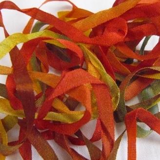 Ruban de soie S.Francis multico rouge/vert/marron