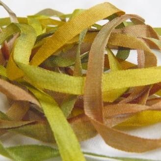 Ruban de soie S.Francis multico anis/vert/marron