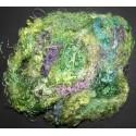 Fibres de soie vert/mauve