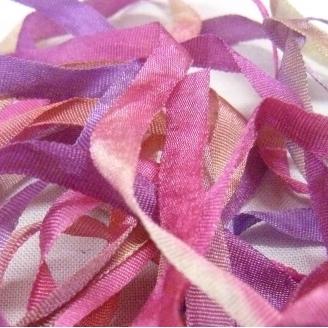Ruban de soie S.Francis multico mauve/rose/vert