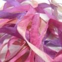 Ruban de soie S.Francis multico mauve/rose/vert 7mm