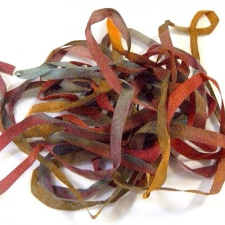 Ruban de soie S.Francis rouge/marron/vert 4mm