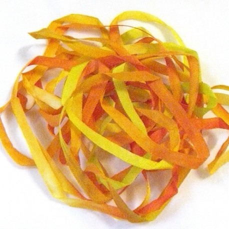 Ruban de soie S.Francis orange/jaune/anis 4mm