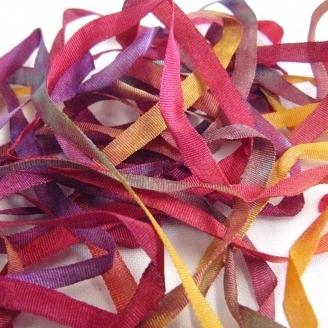 Ruban de soie S.Francis multico fuscia/jaune/violet