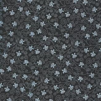 Tissu patchwork petites fleurs blanches fond noir