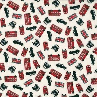 Tissu patchwork bus à étage et taxi londoniens fond écru
