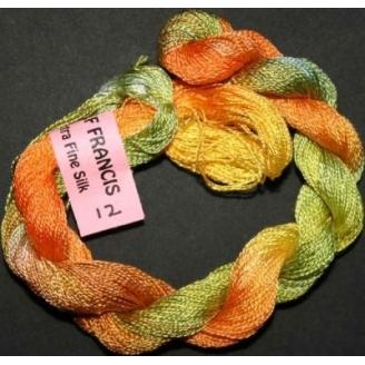 Soie extra fine Stef Francis vert jaune orange 12